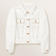 Puff Sleeve Denim Jacket  CREAM  hi-res