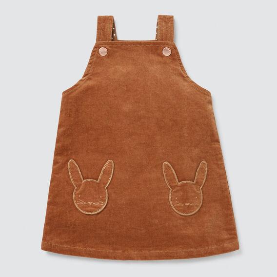 Bunny Pocket Pinafore  DARK BISCUIT  hi-res