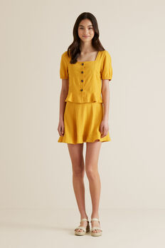Linen Blend Flip Skirt  SUNSET  hi-res