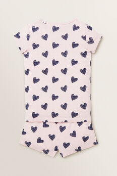 Heart Short Sleeve Pyjamas  ICE PINK MARLE  hi-res