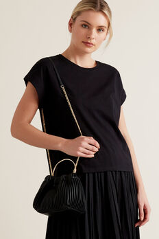 Pleat Ring Handle Sling  BLACK  hi-res