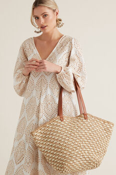 Two Tone Straw Tote  NATURAL/ TAN  hi-res