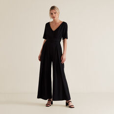 Wide Leg Belted Jumpsuit  BLACK  hi-res