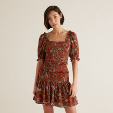 Paisley Mini Dress  RED VELVET PAISLEY  hi-res