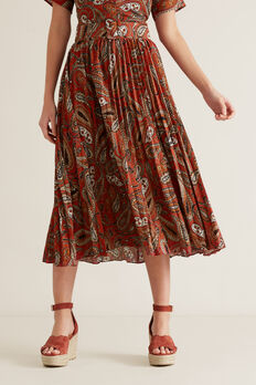 Paisley Pleat Skirt  RED VELVET PAISLEY  hi-res