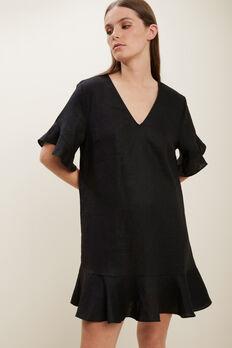 Linen Flutter Sleeve Dress  BLACK  hi-res