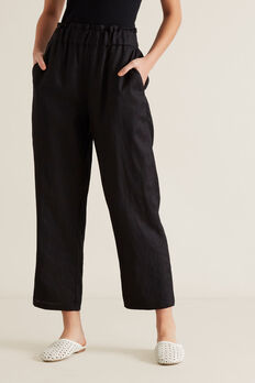 Linen Relaxed Pant  BLACK  hi-res