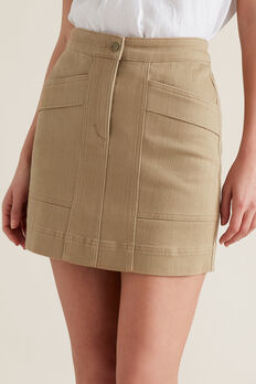 Stitch Detail Denim Skirt  WARM TAN  hi-res