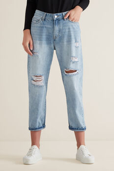 Distressed Jean  LIGHT WASH DENIM  hi-res