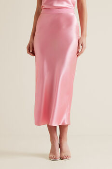 Satin Midi Skirt  WATERMELON PINK  hi-res