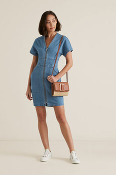 Mini Zip Through Dress  CLASSIC DENIM  hi-res