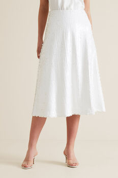Sequin Skirt  WHISPER WHITE  hi-res