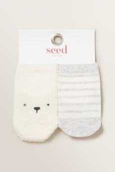Fluffy Bear Socks  VANILLA  hi-res