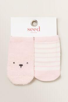 Fluffy Bear Socks  PINK  hi-res