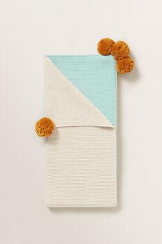Pom Pom Pearl Knitted Blanket  OAT MARLE  hi-res