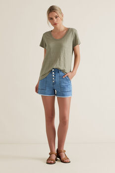 Button Through Denim Short  CLASSIC DENIM  hi-res