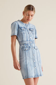 Button Through Denim Dress  LIGHT WASH DENIM  hi-res