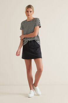 A-Line Denim Mini Skirt  WASHED BLACK  hi-res
