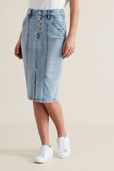 Denim Midi Skirt  LIGHT WASH DENIM  hi-res