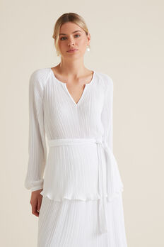 Micro Pleat Kimono Top  WHISPER WHITE  hi-res