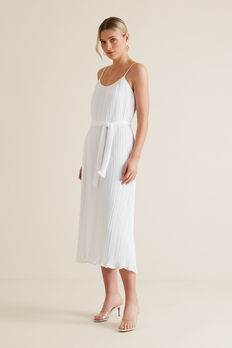 Micro Pleat Maxi Dress  WHISPER WHITE  hi-res