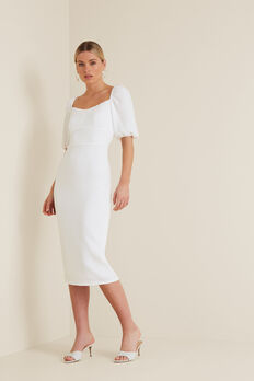 Square Neck Slimline Dress  WHISPER WHITE  hi-res