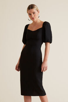 Square Neck Slimline Dress  BLACK  hi-res