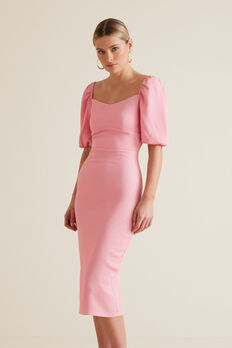 Square Neck Slimline Dress  WATERMELON PINK  hi-res