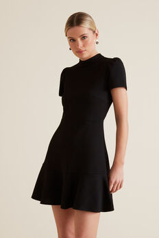 Frill Hem Dress  BLACK  hi-res