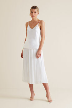 Midi Micro Pleat Skirt  WHISPER WHITE  hi-res