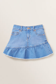 Asymmetric Denim Skirt  FADED BLUE  hi-res