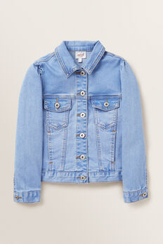 Puff Sleeve Denim Jacket  FADED BLUE  hi-res