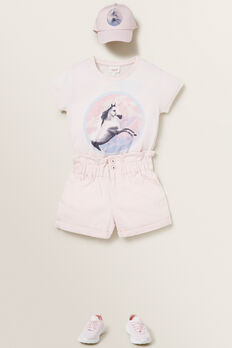 Paperbag Denim Shorts  ICE PINK  hi-res