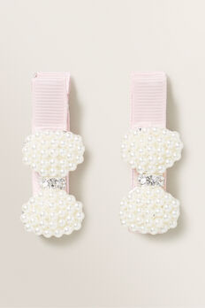 Pearl Bow Duck Clip  PINK  hi-res