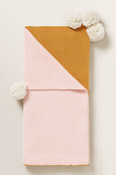 Pom Pom Pearl Knitted Blanket  PRETTY PINK  hi-res