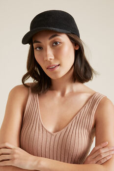 Woven Straw Cap  BLACK  hi-res