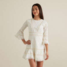 Broderie Bell Sleeve Dress  CANVAS  hi-res