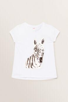 Sequin Zebra Tee  WHITE  hi-res