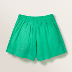 Linen Button Shorts  APPLE GREEN  hi-res