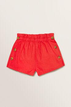 Linen Button Shorts  APPLE RED  hi-res