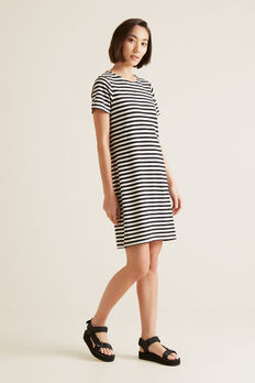 Stripe Pique Dress  BLACK STRIPE  hi-res