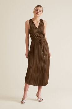 Flowing V Neck Dress  LIGHT CHOCOLATE  hi-res