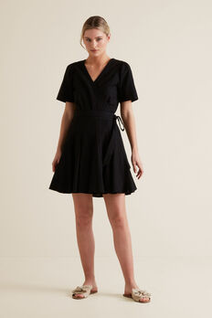 Mini Fluted Hem Dress  BLACK  hi-res