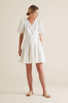 Mini Fluted Hem Dress  CLOUD CREAM  hi-res