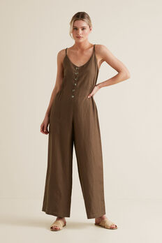 Shirred Waist Jumpsuit  LIGHT CHOCOLATE  hi-res
