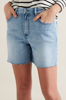 Frayed Denim Short  LIGHT WASH DENIM  hi-res