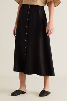 Linen Flowing Skirt  BLACK  hi-res