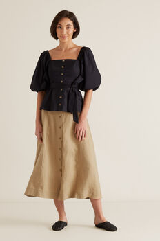 Linen Flowing Skirt  WARM TAN  hi-res