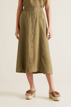 Linen Flowing Skirt  RICH MOSS  hi-res