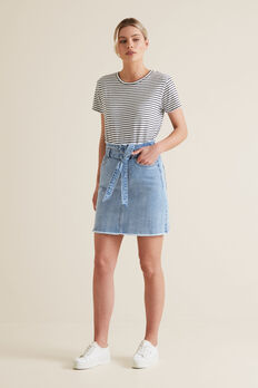 Belted Denim Skirt  LIGHT WASH DENIM  hi-res